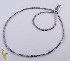 10k White Gold Fox Braid Chain Necklace & Bracelet Jewelry Set