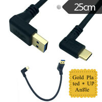 25cm USB 3.0 Type A Male Up Angle to USB3.1 Type C Male Data Sync Charging Cable