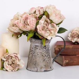 Rustic Grey Jug Vase Ornate Metal Flower Wedding Home Decor Shabby Vintage Chic