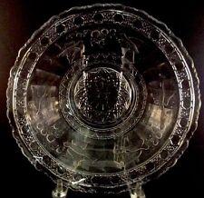 Bird And Strawberry Ruffled Bowl Clear Pattern Indiana Glass 1914 Bluebird EAPG