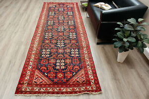Vintage Wool Hand Knotted Oriental Traditional Geometric Runner Rug 3x10 Carpet
