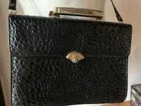 Handtasche wie Aktentasche Krokotasche schwarz Lackleder 50er vintage Hornbag