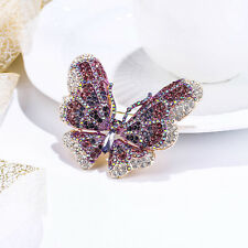 Christmas Butterfly Brooch Pin Animal Enamel Purple Crystal Women Party Gift