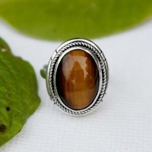 925 Sterling Silver Tiger Eye Oval Shape Handmade Exotic 100% GENUINE Ring