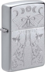 """ZIPPO """"BUTTERFLY & WOLF"""" SATIN CHROME LIGHTER **NEW IN BOX**"""