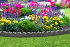 More details for garden edging border flexi rubber curve grey scallop lawn path stone fence 1.2m