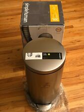 Step On Trash Can 30 Liter Fingerprint Proof Brushed Stainless Steel Round - New