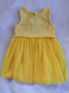 Euc Hanna ANDERSSON SIZE 80/18-24M GIRLS BRIGHT YELLOW Tulle Dress