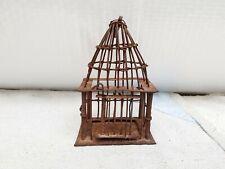 19c Antique Old Primitive Unique Handmade Miniature Iron Bird Cage Collectibles