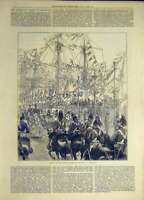 Original Old Antique Print 1872 Prince Wales Quay Yarmouth Procession Victorian