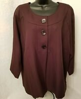 Perceptions Womens Brown Button Cover Shirt Top Blouse Blazer Jacket Size 20W
