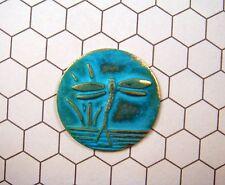 Verdigris Patina Brass Dragonfly Disc Stamping (1) - VPRAT7282