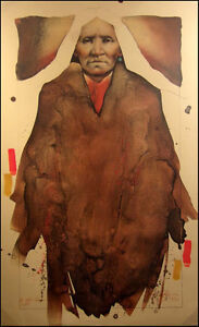 Frank Howell Buffalo Woman Hand Colored Lithograph Signed Indian Make an OFFER