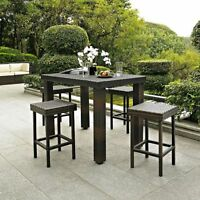 Outdoor Brown Resin Wicker 5 Piece Bar Height Patio Dining Set Table 4 Stools