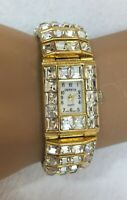 Wristwatch Watch Geneva Quartz Gold Tone Metal Rhinestones Bling Women's Ladies