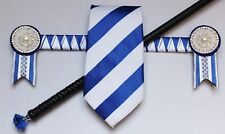 Royal Blue & White Sharkstooth Browband 34.5cm, Striped Tie and CrystalShow Crop