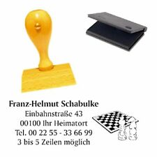 Adressenstempel « SCHACH » mit Kissen - Sportverein Stempel - Schachclub