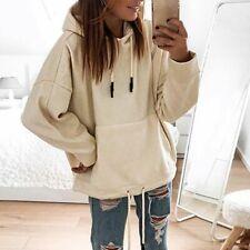 Hoodies Drawstring Solid Hooded Women Sweatshirt Girls Big Pockets Pullover Lady