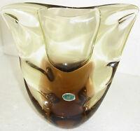 flachgedrückte Vase,hellbraun klar,Bohemia/Czechoslov., ca.H 19cm,B 18cm,1820 gr