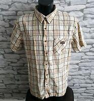 "Men's Weird Fish Shirt Brown Checked Short Sleeved XL 44"" men's male mans casual"