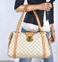 LOUIS VUITTON STRESA PM DAMIER AZUR LEATHER SHOULDER BAG SATCHEL HANDBAG PURSE