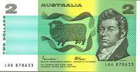 1985 Australian CFU Last Prefix $2 LQG878633 Johnston Fraser Banknote issue r89L