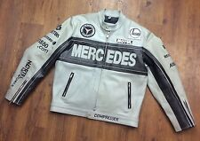 Mercedes Benz Men's Medium Gray and Black Zip Leather Genuine Racing Moto Jacket