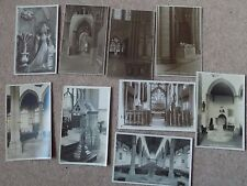 9 Vintage Old Postcards of Churches Fonts England Southwold Salisbury interiors