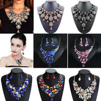 Fashion Women Crystal Bib Necklace Statement Choker Pendant Chunky Party Jewelry