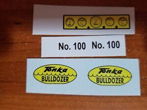 TONKA TRUCK  BULLDOZER SCRIPT, DASH ,AND NO. 100  SET