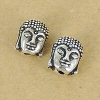 2 Pcs 925 Sterling Silver 8x11mm Buddha Head Buddhism Bead Charm WSP166