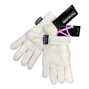 Girls Thermal Gloves Cream Thinsulate Fleece Lined Childrens Kids Winter Warm