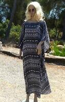 Lagenlook Kaftan Kleid Ibiza ♥ EG XXL 48 50 52 54 56 58 Hippie
