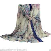 Women's Blue Flower Long Big Soft Cotton Voile Winter Warm Scarf Shawl Wrap