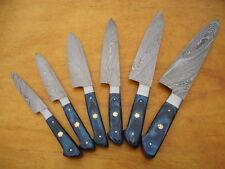 6 Pc's Beautiful Custom hand made Damascus steel Chef knife Set. (ZE-1071-BL)