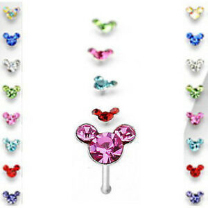 1pc Mouse Gem Nose Ring Stud Bone 20g Minnie Mickey Nostril Piercing Jewelry