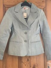Gorgeous Brand New With Tags Powder Blue Leather Blazer / Jacket, Size 6 - 8