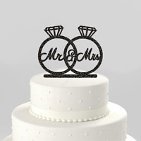 MR & MRS WEDDING RINGS BLACK SPARKLES STAND-UP CAKE TOPPERS