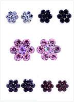 Pretty plum flower stud earrings 50s 60s retro multiple choices