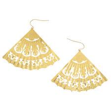 Pierced Earrings Gold Tone Filigree Statement Large Wide Exotic Fan
