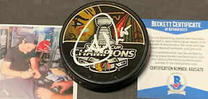 Andrew Shaw Chicago Blackhawks Autographed Signed 2013 CHAMPS Puck Beckett COA