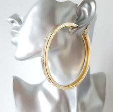 Gorgeous! HUGE 9cm GOLD tone CHUNKY square patterned tube oversize hoop earrings
