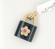 18K Yellow Gold Black Onyx Lock Ruby Diamond Charm for Bracelet or Pendant