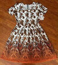 NWT Lularoe AMELIA Dress XL Paisley Orange Rust OMBRÉ Paisley DIP DYE Unicorn