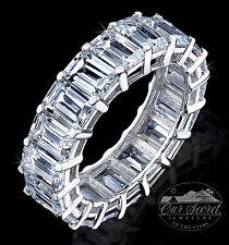 8 ct Emerald Cut Eternity Ring Top CZ Imitation Moissanite Simulant SS Sz 7.5