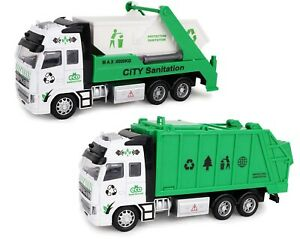 21cm Pull Back Lorry DieCast Friction Powered Kids Garbage Truck Skip Lorry Toy