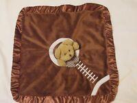 "Bearington Baby Collection Brown Bear Football Security Blanket Lovey Velour 18"""