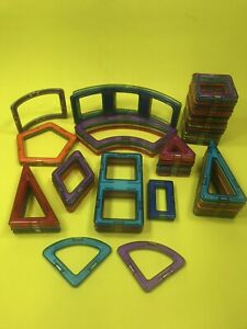 50 + Pieces Magformers Squares & Triangles Unique Pink Blue Teal Purple Magnetic