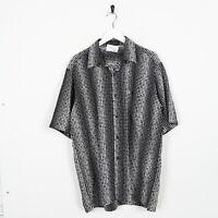 Vintage Abstract Short Sleeve Festival Party Shirt Black | XL