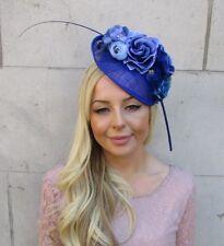 Royal & Bleu Clair Plume Rose Fleur Sinamay disque soucoupe chapeau plume 5916
